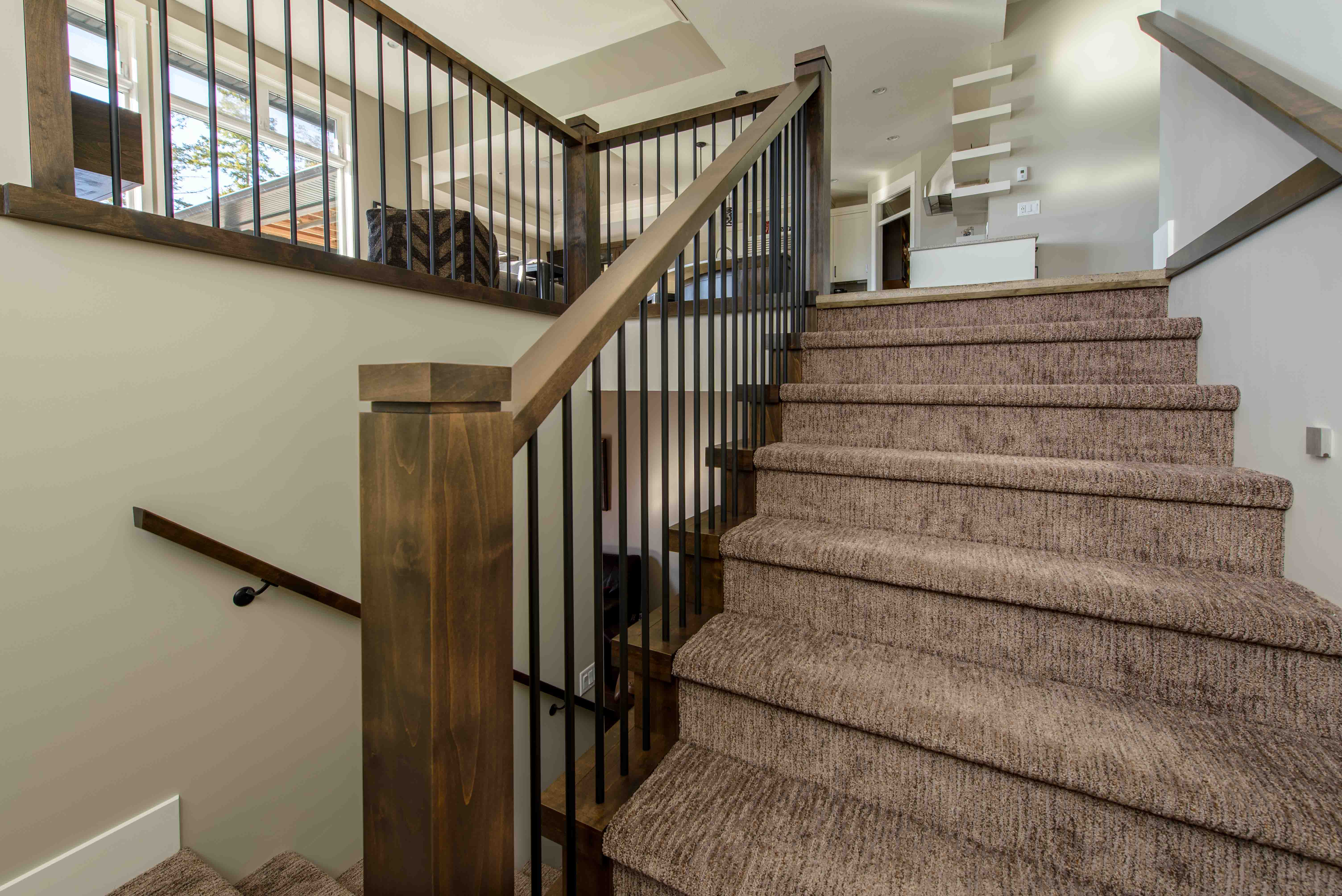 Custom wood hand railings