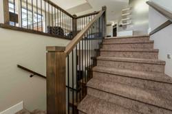 Custom wood hand railings