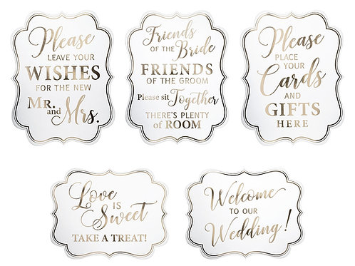 white gold wedding signs