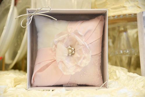vintage blush rhinestone ring pillow, ring bearer pillow, blush pink wedding, pink ring pillow