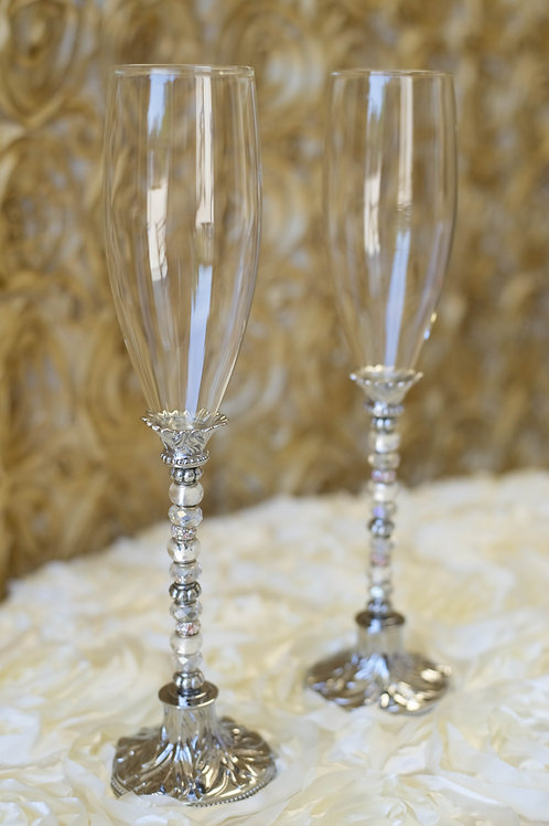 Silver Crystal Glass Beaded Wedding Toasting Glasses