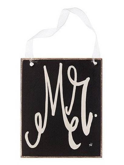 mr. hanging sign, mrs. hanging sign, reception decor, wedding decor, wedding sign, black and white wedding, mr and mrs