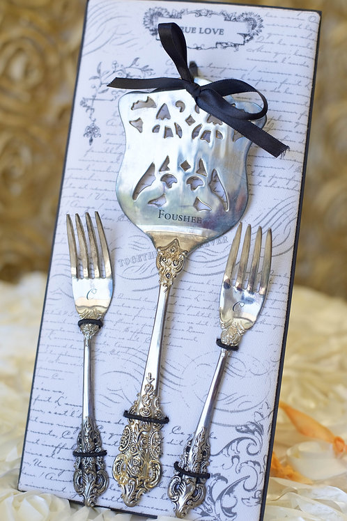 Personalized Silver Wedding Cake Serve Forks