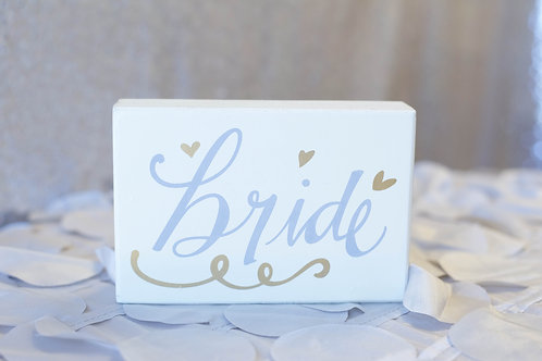 bride block sign decor ivory gray gold