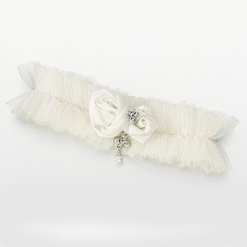 ivory tulle jeweled wedding leg garter