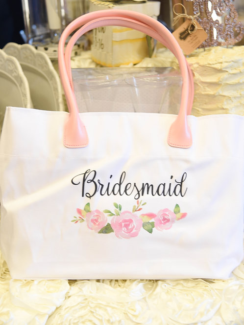 bridesmaid bag, bridesmaid gift idea, pink and white wedding, bridal party gifts, bridal party
