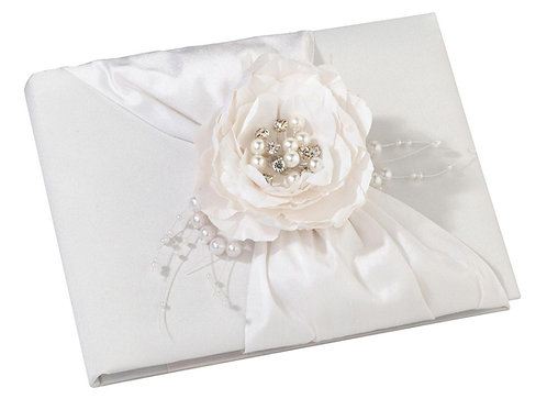 wedding guest book white satin flower