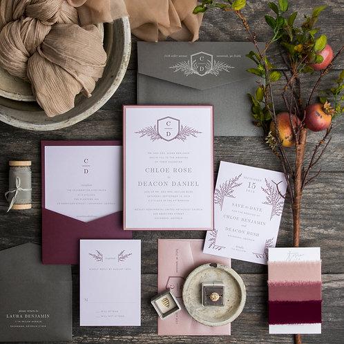classic modern rustic elegant purple plum charmed life monogram wedding invitations i do boutique cypress tx houston wedding