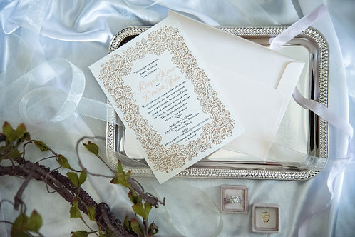 laser cut wedding invitations gold ivory