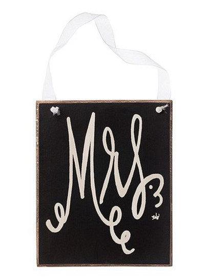 mrs. hanging sign, mr. hanging sign, black and white wedding, wedding sign, wedding decor, chair signs, reception decor