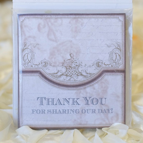 wedding thank you place cards gold ivory