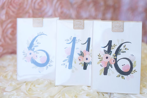 floral botanical wedding table numbers white pink black