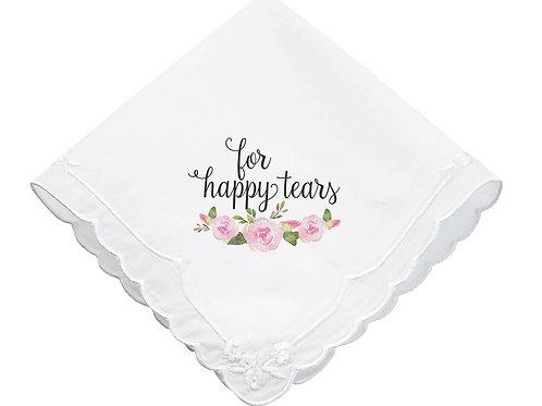 Watercolor Floral Happy Tears Keepsake Hankie