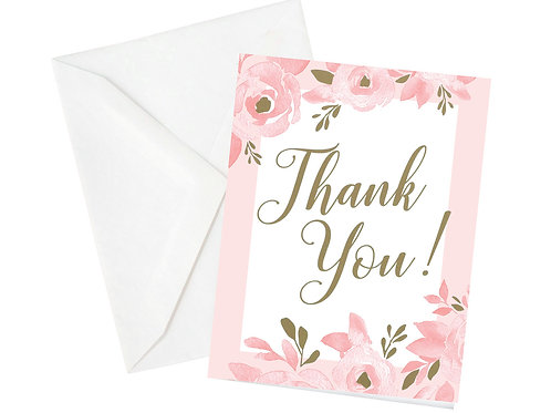 Set of 12 Bridal Shower 'Thank You' Cards