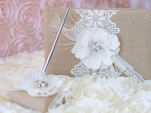Rustic Burlap Lace Wedding Guest Book