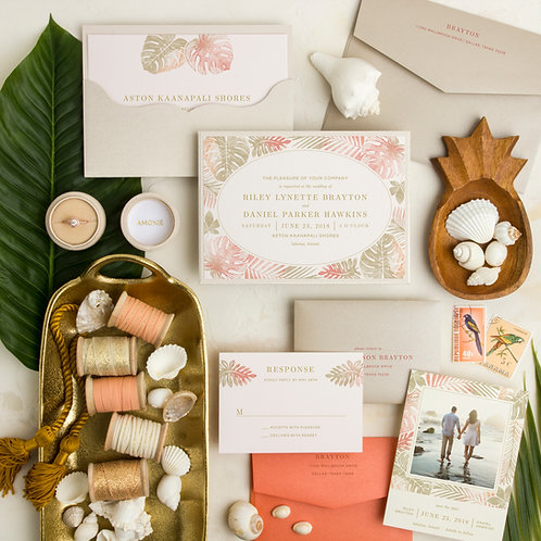 coral beach destination wedding invitations tropical save the date i do boutique cypress tx houston wedding