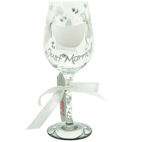 lolita just married wedding painted wine glass gift