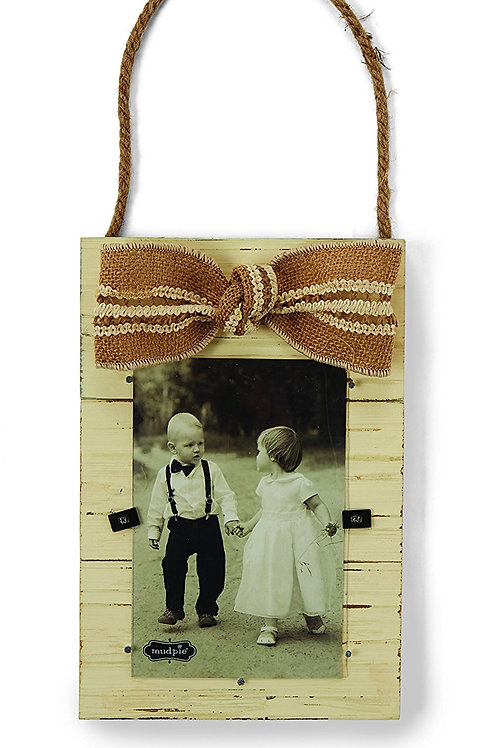 hanging wood picture frame burlap bow