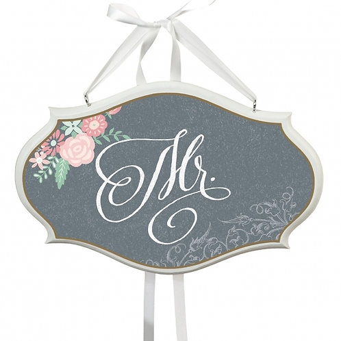 shabby chic gray mr. chair wedding sign