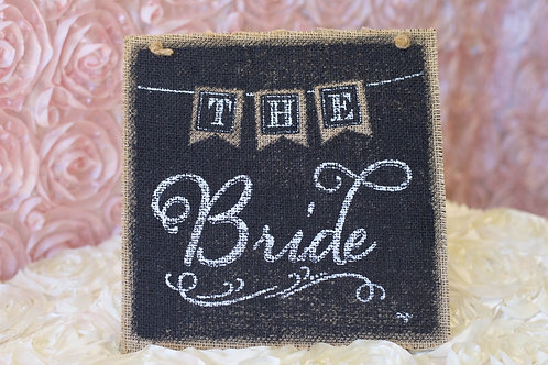 burlap bride hanging wedding sign decor black