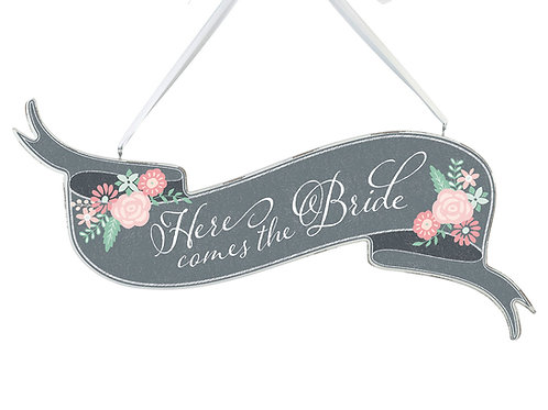 shabby chic gray here comes the bride banner sign
