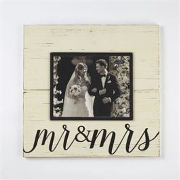 black white ivory mr. mrs. picture frame