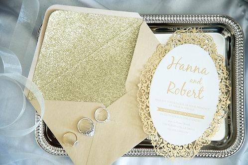 Gold foil laser cut wedding invitations oval