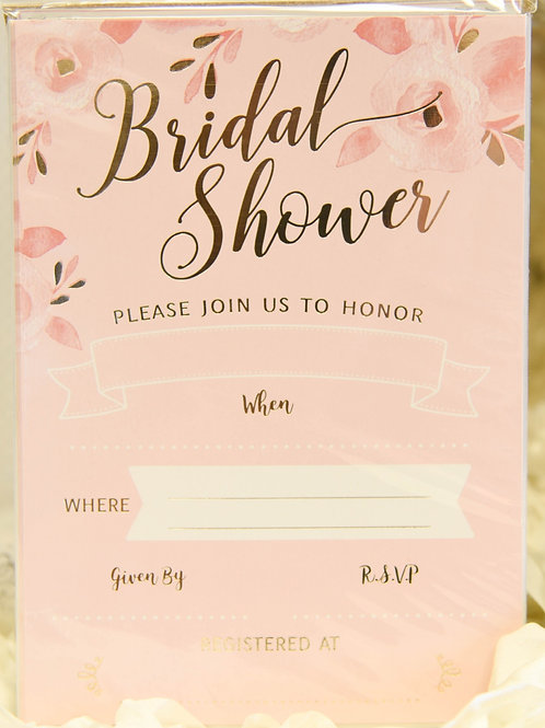 8 Pink & Gold Bridal Shower Invitations