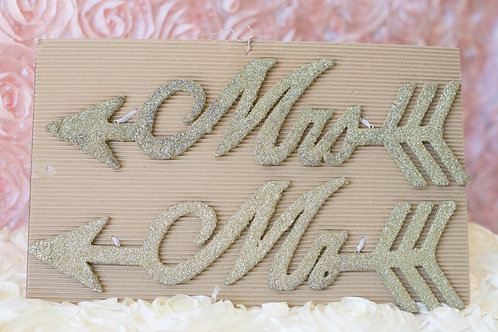 Mr. & Mrs. Gold Glitter Chair Signs Wedding Decor