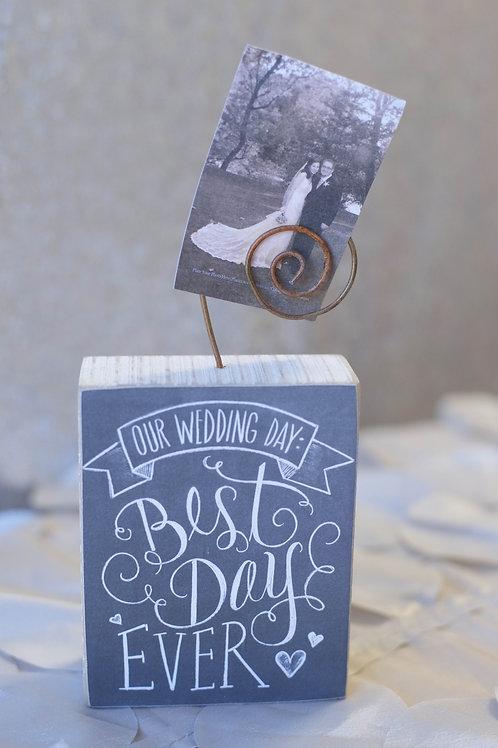 black best day ever wedding photo holder display