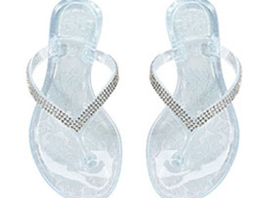 Rhinestone clear jelly bride wedding flip flops
