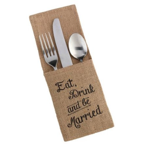 burlap silverware holder, wedding reception, eat drink be married, wedding silverware, burlap wedding, rustic wedding decor