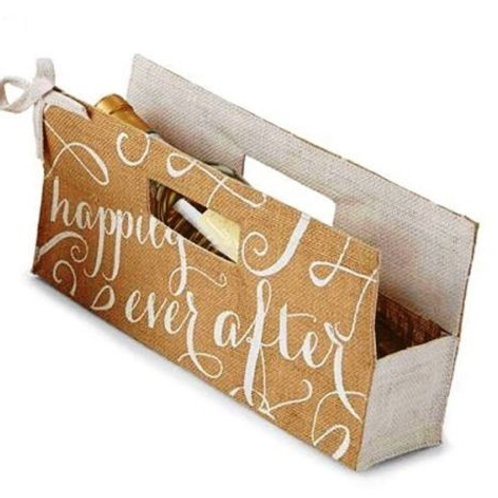 Happily Ever After Burlap Wine Bag