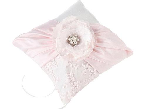 vintage wedding, blush pink wedding, pink flower ring pillow
