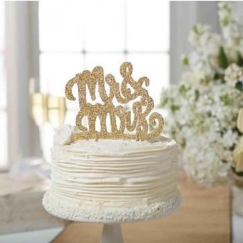 Gold Glitter Mr Mrs Wedding Cake Topper