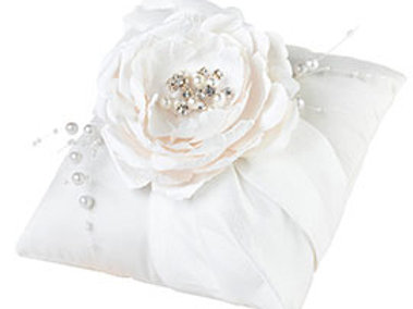 shabby chic pearl flower ring bearer pillow