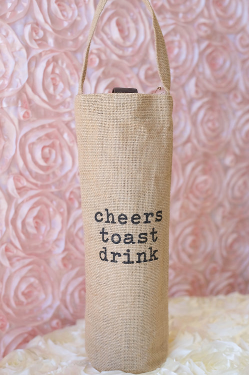cheers toast drink burlap wine bag