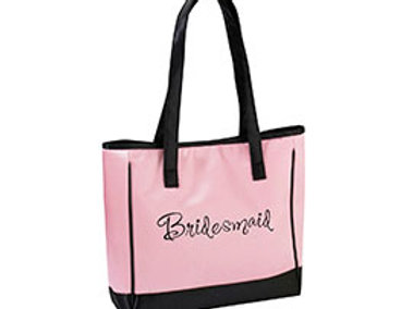 pink black bridesmaid tote bag wedding party gift idea