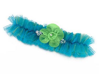 blue green wedding flower leg garter