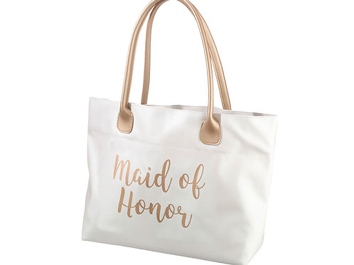 maid of honor bag gift idea white gold