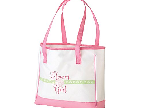 Pink Flower Girl Tote Bag