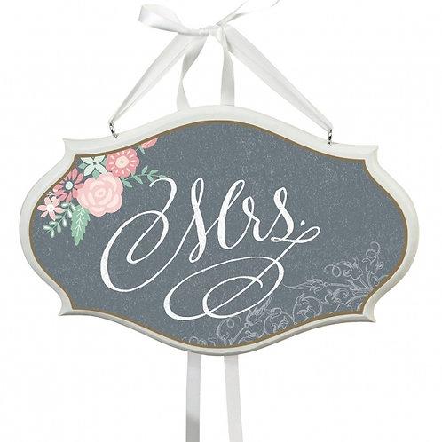 shabby chic gray mrs. wedding chair sign decor