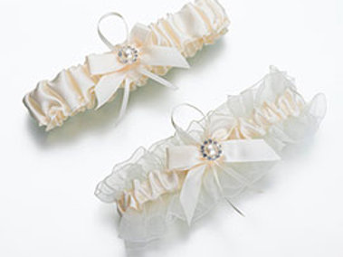 two ivory pearl wedding leg garters