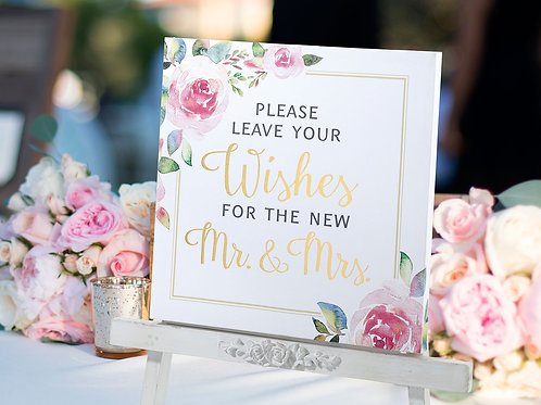 watercolor wedding sign, floral wedding sign, leave your wishes for mr and mrs, wedding decor, gold wedding, pink and gold