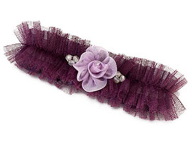purple plum flower wedding leg garter
