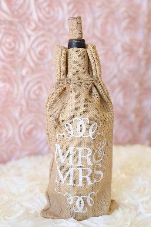 mr. mrs. wedding gift burlap wine bag