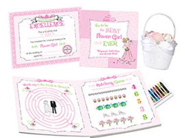 pink flower girl activity book gift