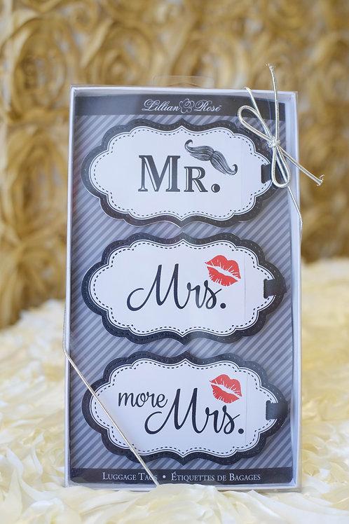mr. mrs. luggage tags