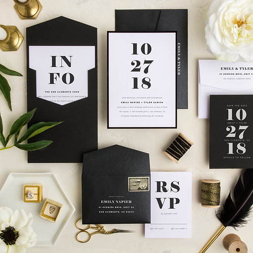 black and white modern gatsby wedding invitations i do boutique cypress tx houston wedding save the dates