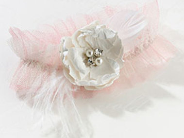 shabby chic pink flower wedding leg garter
